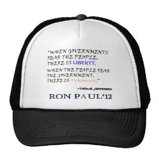 Liberty Tyranny Ron Paul 12 png Hats