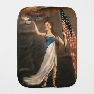 Liberty Woman Eagle American Flag USA Freedom Baby Burp Cloths