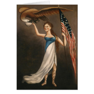 Liberty Woman Eagle American Flag USA Freedom Card