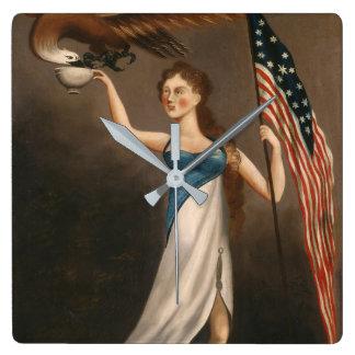 Liberty Woman Eagle American Flag USA Freedom Square Wall Clock