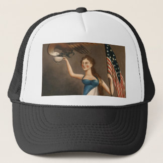 Liberty Woman Eagle American Flag USA Freedom Trucker Hat