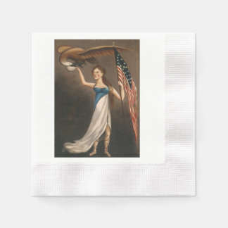 Liberty Woman Eagle American Flag USA Oil Painting Disposable Napkin