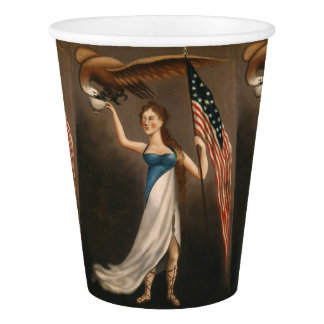 Liberty Woman Eagle American Flag USA Oil Painting Paper Cup