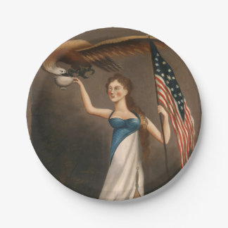 Liberty Woman Eagle American Flag USA Oil Painting Paper Plate