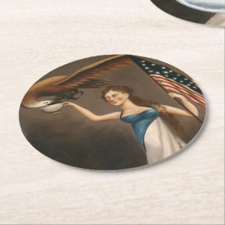 Liberty Woman Eagle American Flag USA Oil Painting Round Paper Coaster