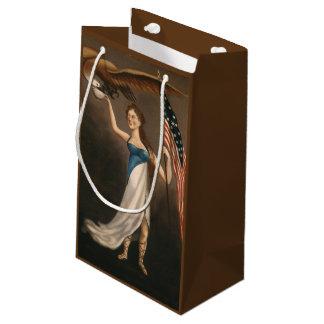 Liberty Woman Eagle American Flag USA Oil Painting Small Gift Bag
