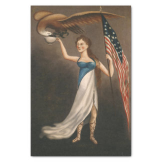 Liberty Woman Eagle American Flag USA Oil Painting Tissue Paper