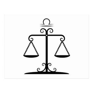 libra balanced scales astrology zodiac postcard