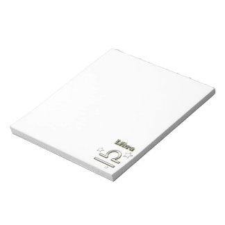 Libra chrome symbol notepad