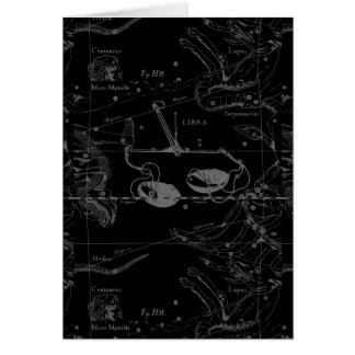 Libra Constellation Map Hevelius 1690 on Black Card