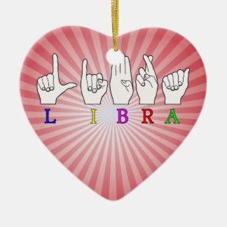 LIBRA FINGERSPELLED ASL NAME ZODIAC SIGN CERAMIC ORNAMENT