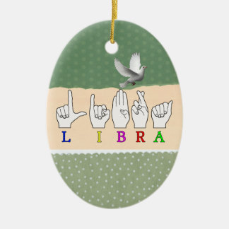 LIBRA FINGERSPELLED ASL NAME ZODIAC SIGN CERAMIC ORNAMENT