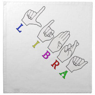 LIBRA FINGERSPELLED ASL NAME ZODIAC SIGN NAPKIN