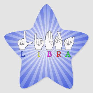 LIBRA FINGERSPELLED ASL NAME ZODIAC SIGN STAR STICKER