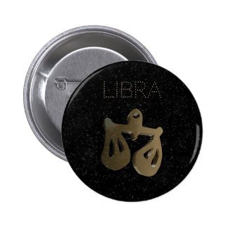 Libra golden sign 2 inch round button