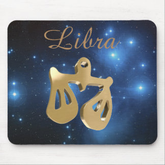 Libra golden sign mouse pad
