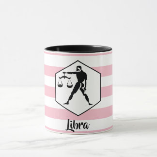 Libra Horoscope Silhouette on Pink Stripe Mug