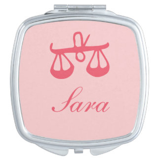 Libra on Pink Template Text Square Purse Mirror Mirror For Makeup