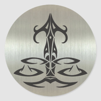 Libra Scales Silhouette on Metallic Effect Classic Round Sticker