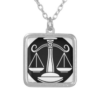 Libra Scales Zodiac Horoscope Sign Silver Plated Necklace