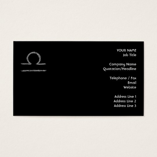 Libra. Zodiac Astrological Sign. Business Card