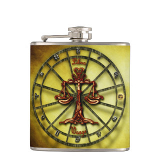 Libra Zodiac Astrology design Horoscope Hip Flask