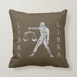 Libra Zodiac Brown Throw Pillow