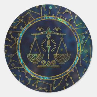 Libra Zodiac Gold Abalone on Constellation Classic Round Sticker