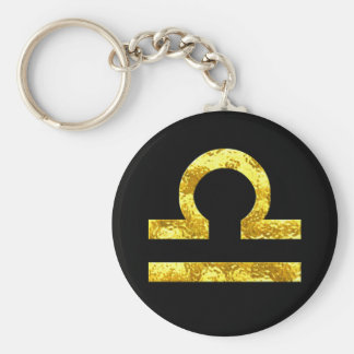 Libra Zodiac Sign Black Gold Symbol Keychain