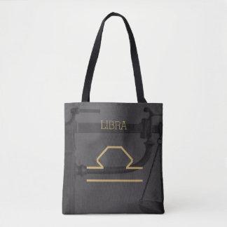 Libra Zodiac Sign | Custom Background + Text Tote Bag