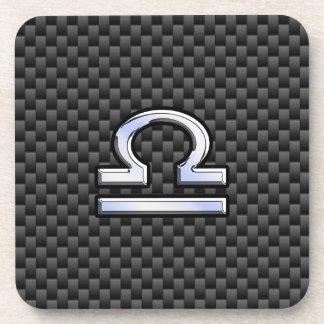 Libra Zodiac Sign on Black Carbon Fiber Print Beverage Coasters