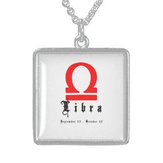 Libra zodiac sign sterling silver necklace
