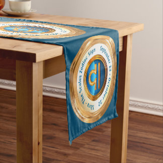 Libra Zodiac Sign With Customizable Curved Text Short Table Runner