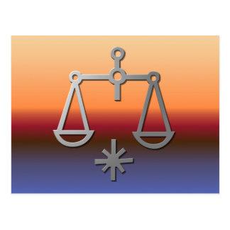 Libra Zodiac Star Sign Orange Sunrise Sunset Postcard