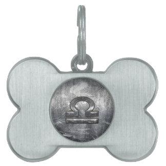 Libra Zodiac Symbol Distressed Industrial Steel Pet Tag