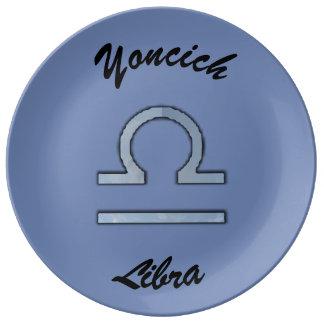 Libra Zodiac Symbol Element by Kenneth Yoncich Porcelain Plate