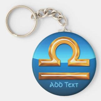 Libra Zodiac Symbol Basic Round Button Keychain