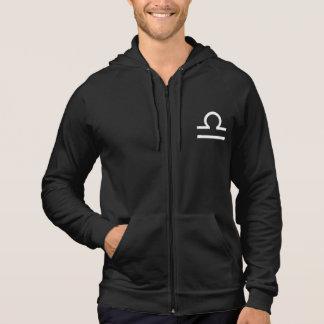Libra Zodiac Symbol Men's Black Zip Hoodie