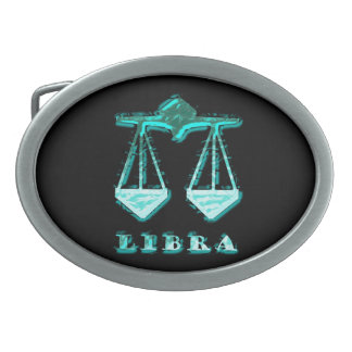 Libra Zodiac Symbol Oval Belt Buckles