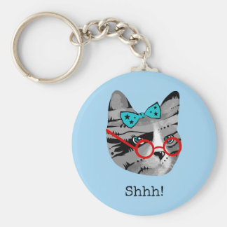 Librarian Cat Basic Round Button Keychain