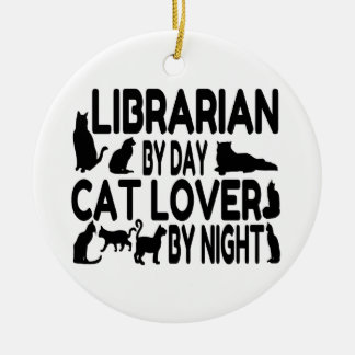 Librarian Cat Lover Ceramic Ornament