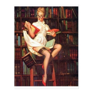 Librarian Pin Up Postcard