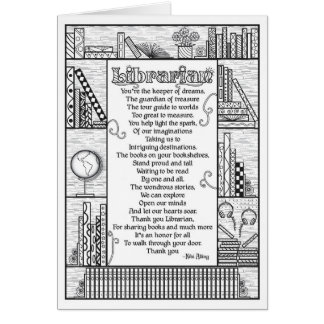 Librarian Poem (Colorable) Card