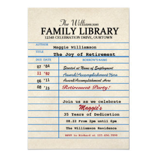 """Librarian Retirement Party 5"""" X 7"""" Invitation Card"""