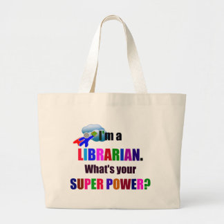Librarian Superhero - Bold Colorful Text Design Large Tote Bag