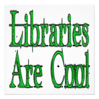 Libraries Are Cool Green Invitations