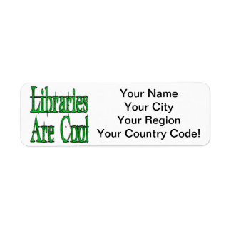 Libraries Are Cool Green Return Address Label