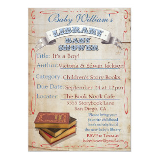 Library Book Baby Shower Invitations
