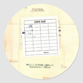 Library Book Date Due Card Classic Round Sticker
