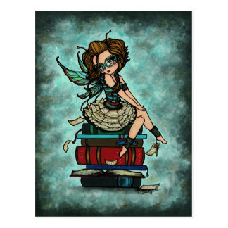 Library Book Fairy Wings Fantasy Art Postcard